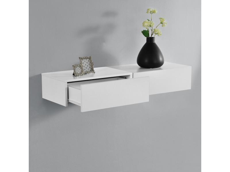 Charmant [en.casa]® 2 étagères Murales Pour Chambre à Coucher Avec 2 Tiroirs   Blanc  Matt   46x30x15cm   Vente De Etagère   Conforama