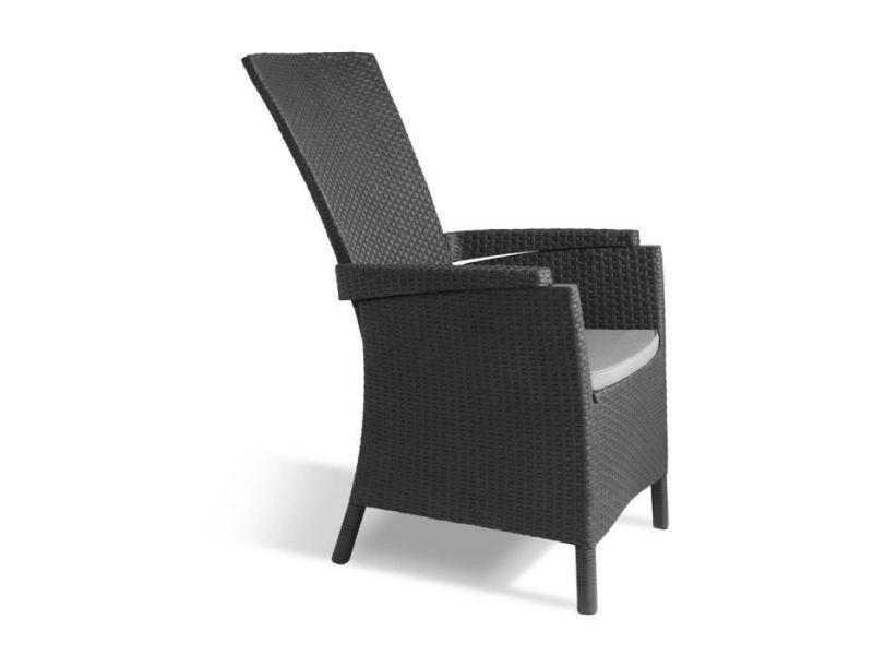 Chaise de jardin - fauteuil de jardin - tabouret de jardin vermont fauteuil multipositions en résine aspect rotin tressé - gris