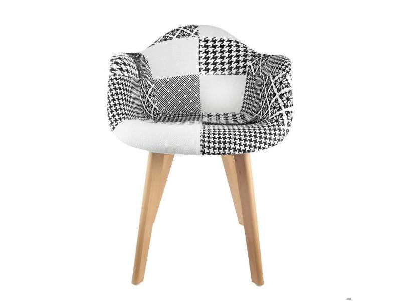 fauteuil scandinave patchwork noir blanc vente de the concept factory conforama. Black Bedroom Furniture Sets. Home Design Ideas