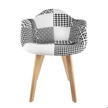 Fauteuil scandinave patchwork noir blanc vente de the for Fauteuil scandinave conforama