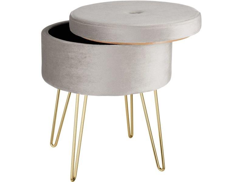 Tabouret siège pouf avec coffre de rangement table basse aspect velours gris helloshop26 08_0000304