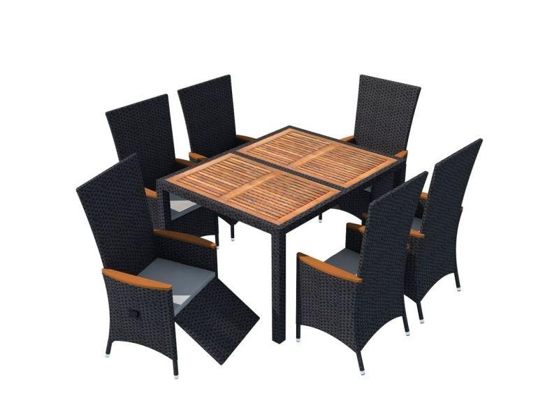 Vidaxl mobilier de jardin 13 pcs noir bois d\'acacia résine ...