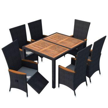 Vidaxl mobilier de jardin 13 pcs noir bois d\'acacia résine tressée ...