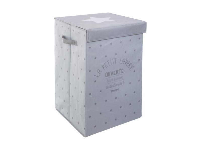 Atmosphera - bac à linge laverie gris h 54 cm