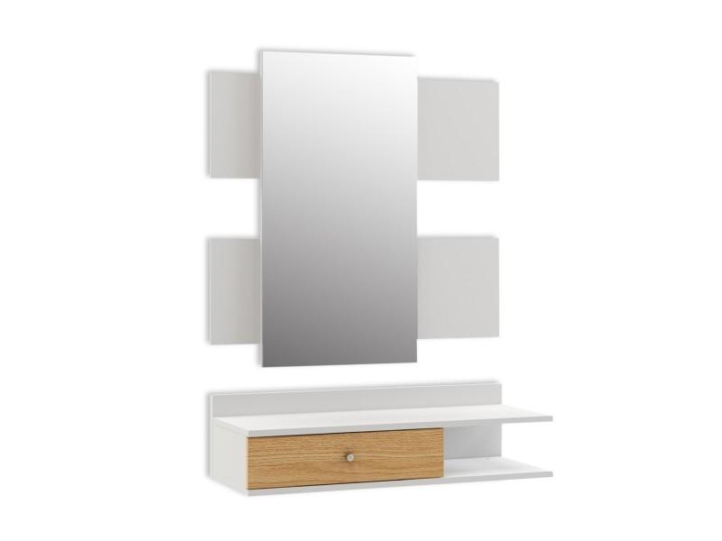 Meuble d'entrée avec miroir et 1 tiroir, ensemble d'entrée, vestiaire d'entrée, style moderne scandinave, 75x30x70, couleur blanc
