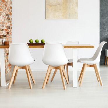 Chaises x4 sara blanches pour salle manger design - Conforama chaises salle a manger ...