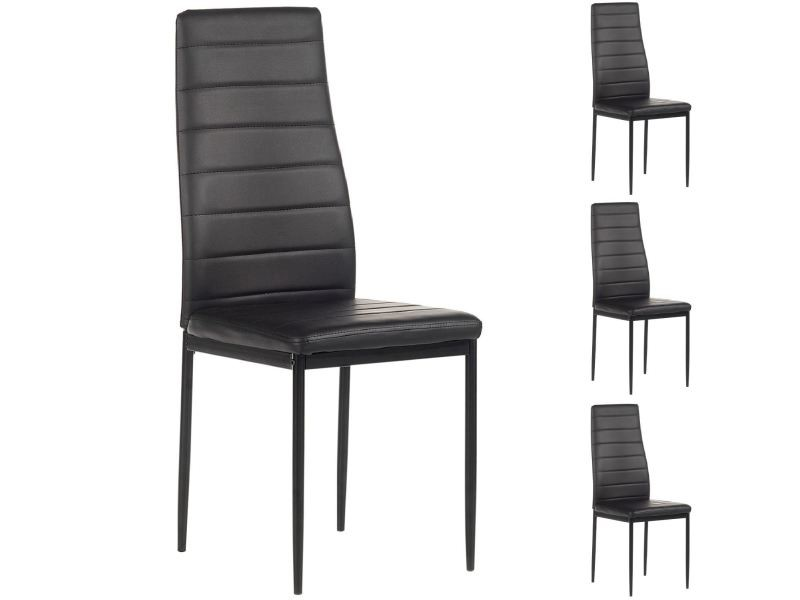 lot de 4 chaises de salle manger nathalie noir vente. Black Bedroom Furniture Sets. Home Design Ideas