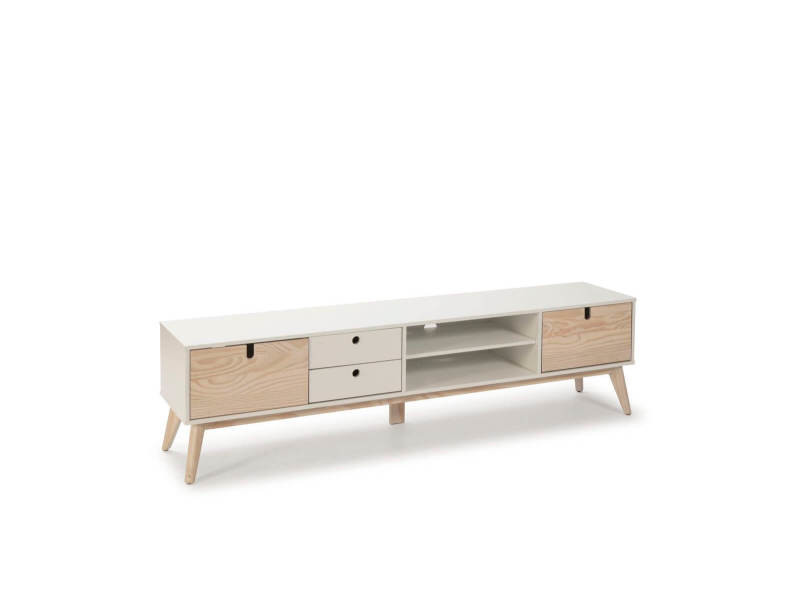 Bobochic meuble tv 180 cm yugo blanc et bois clair