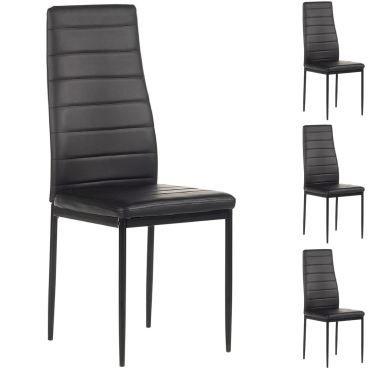 lot de 4 chaises de salle manger nathalie noir - Conforama Chaise De Salle A Manger