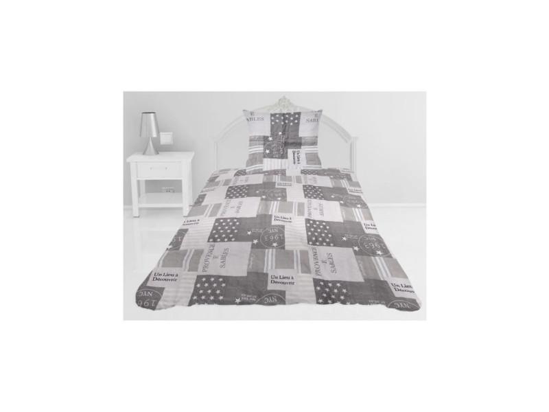 Couvre-lit boutis matelassé corinne - 180 x 220 cm - gris taupe