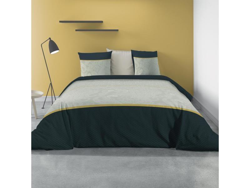 Les Ateliers du Linge Parure de lit 2 Personnes Exploration avec Housse de Couette et 2 taies doreiller Imprime 240 x 220 cm
