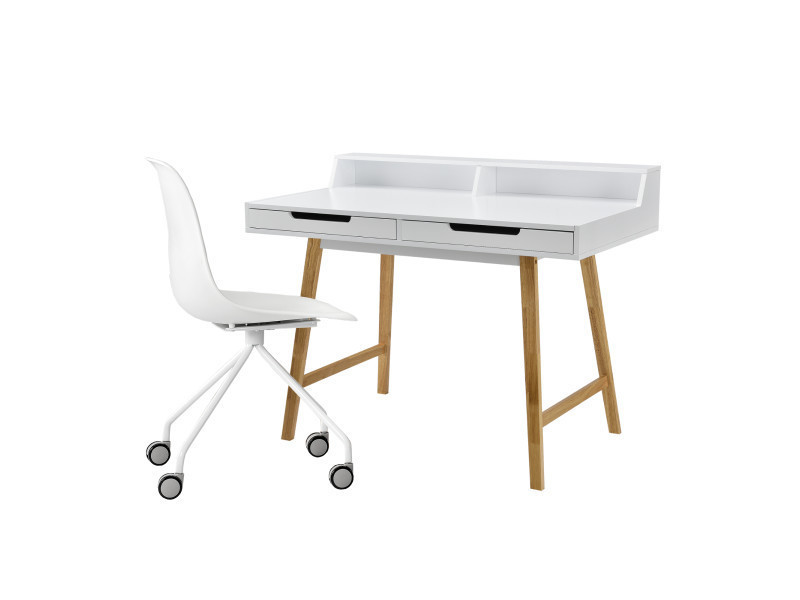 Encasa Retro Bureau Chaise Blanc Table Pour Ordinateur Console Design