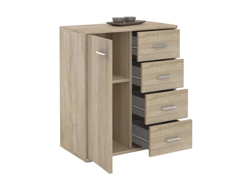 commode oscar buffet rangement tiroirs m lamin ch ne sonoma vente de chiffonnier conforama. Black Bedroom Furniture Sets. Home Design Ideas