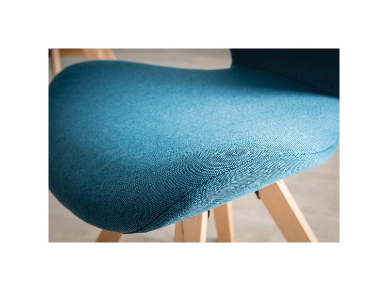 Chaise Scandinave Tissu Bleu Canard Et Pieds Bois Clair Anya