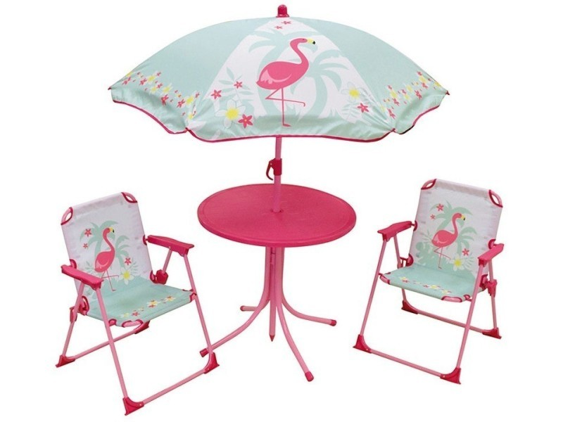 Set et rose 4 table de jardin 2 flamant pièces chaises 4R3j5AL