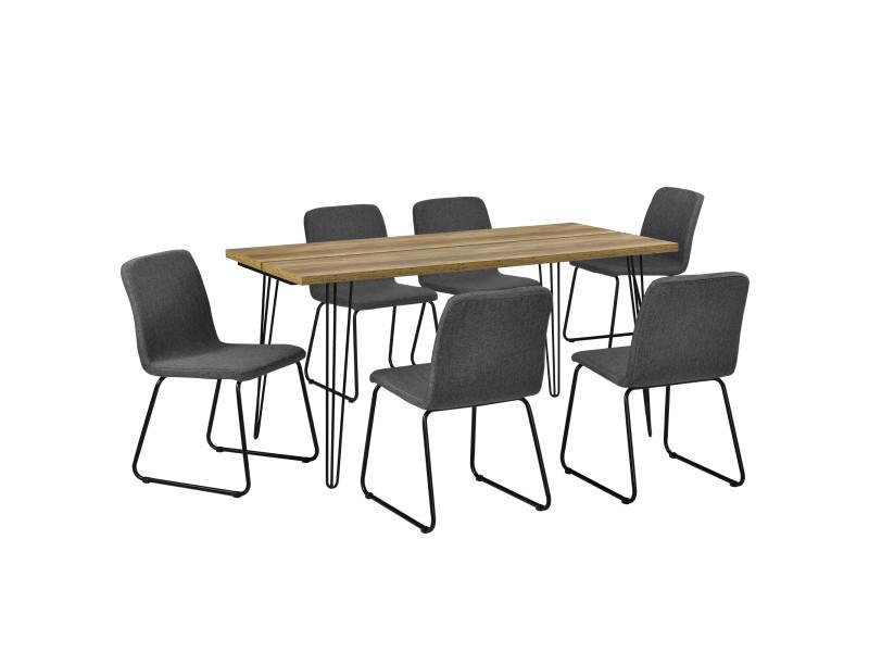 [en.casa]® table à manger design - bois avec pieds d'épingle à cheveux et 6 chaises modernes - gris foncé