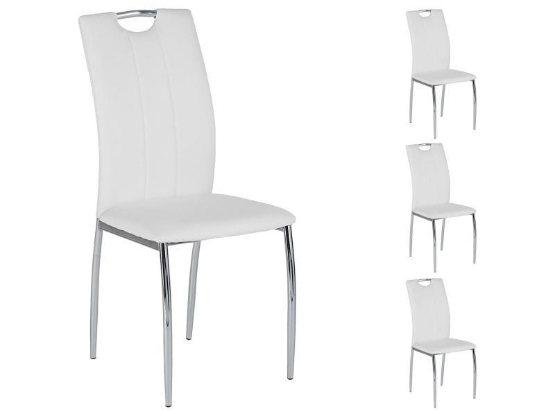 Lot de 4 chaises apollo assise synthétique blanc Vente de