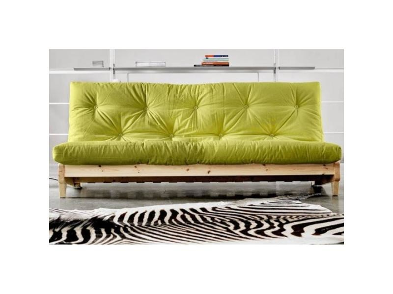 banquette lit futon vert anis fresh 3 places convertible couchage 140 200cm 20100850990 conforama. Black Bedroom Furniture Sets. Home Design Ideas