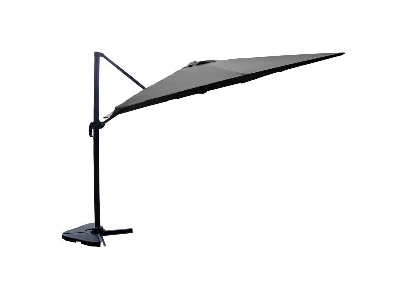 Panaro gris: parasol déporté, rectangulaire de 3x4m, rotatif à 360° 26848