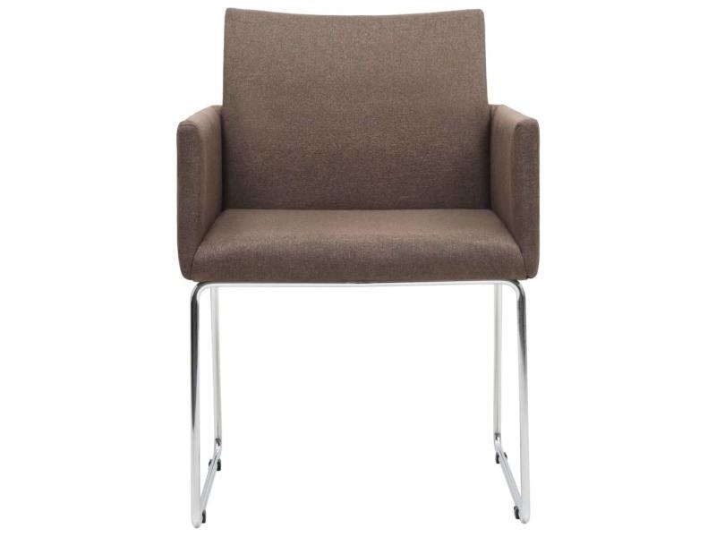 Vidaxl chaises de salle à manger 2 pcs marron tissu 246858