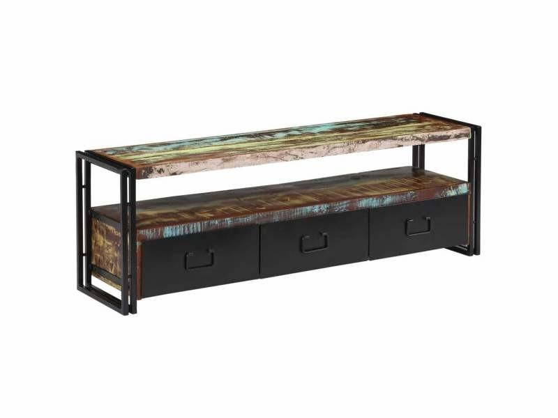 Meuble télé buffet tv télévision design pratique bois de récupération massif 120 cm helloshop26 2502156