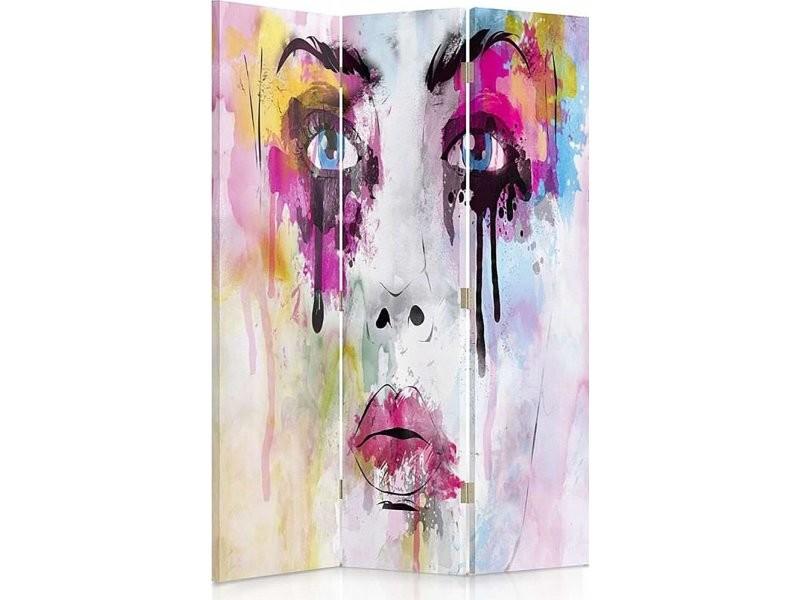 Paravent 3 volets visage avec des taches de peinture 360° PAR/3CZ-360/M_31076/110x180