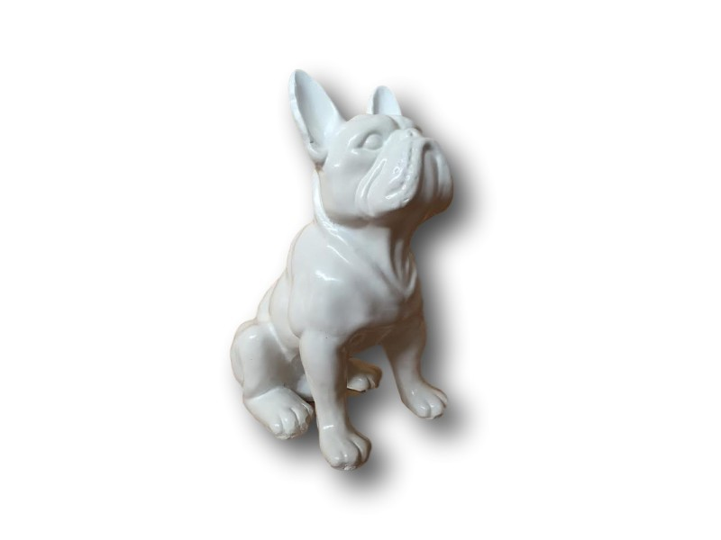 Statue Sculpture Bouledogue Francais Assis Blanc 30 Cm Vente De