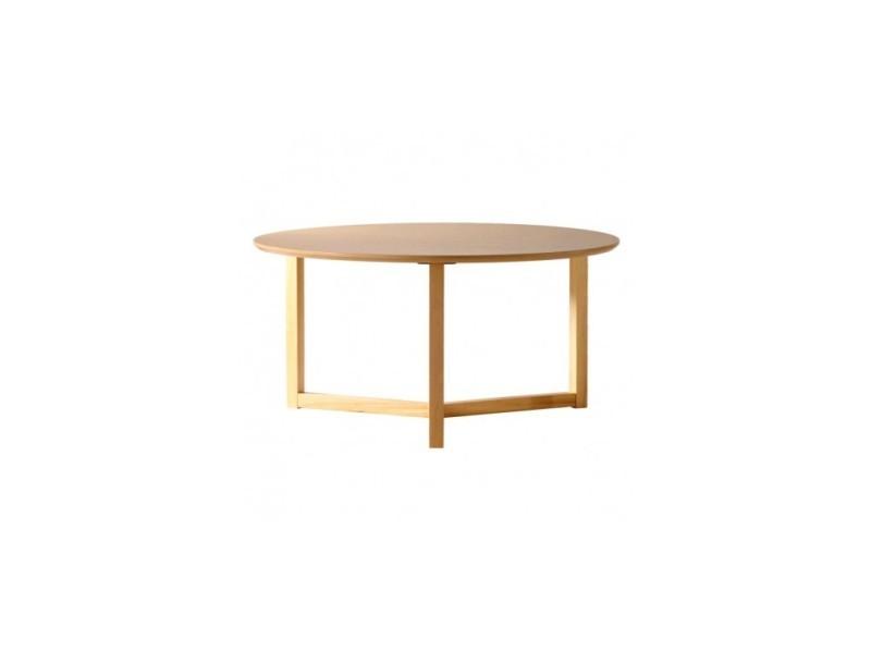 Table basse ronde bois clair 90 cm three