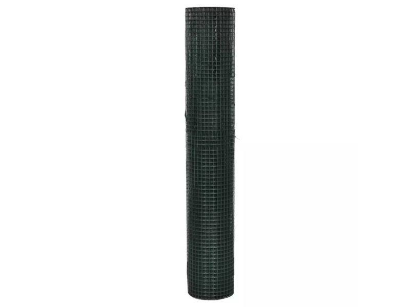 Vidaxl grillage acier galvanisé et revêtement en pvc 10 x 1 m vert 140433