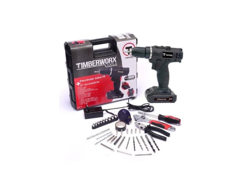 Timberworx coffret perceuse sans fil t21v2xli - 21 v - avec 41 accessoires  - Vente de Outillage électroportatif - Conforama b3b20808bd3e