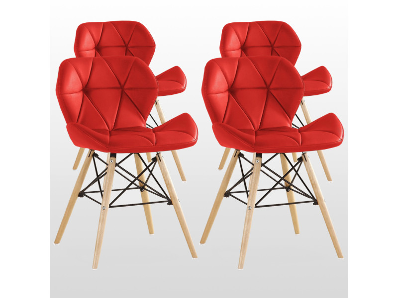 Lot de 4 chaises design en simili cuir rouges - cecilia eiffel