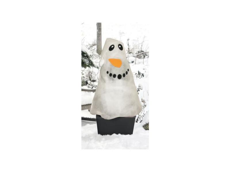 Voile d'hivernage décoré bonhomme de neige - blanc VIL3182670275227