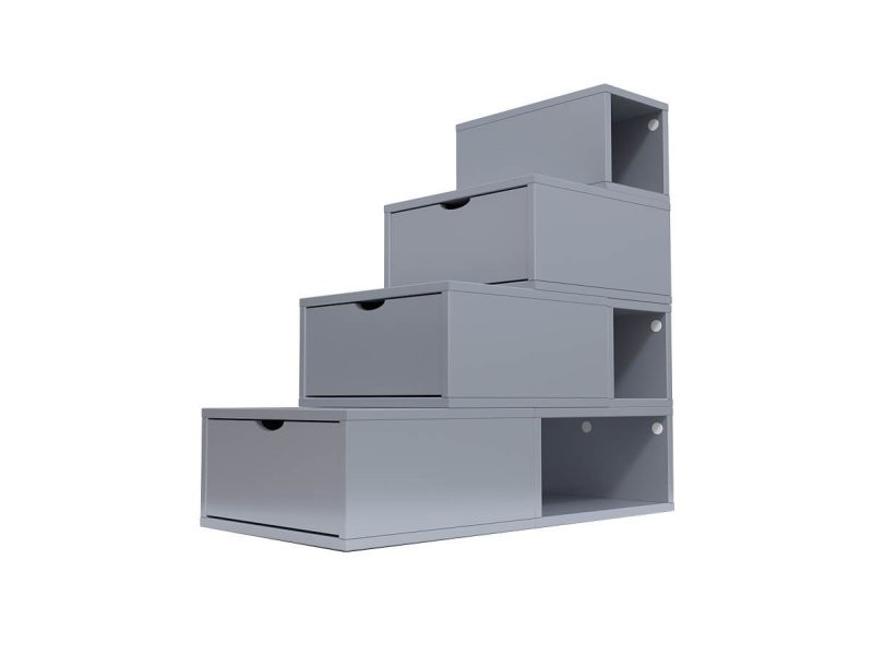 Escalier cube de rangement hauteur 100 cm gris aluminium ESC100-GA