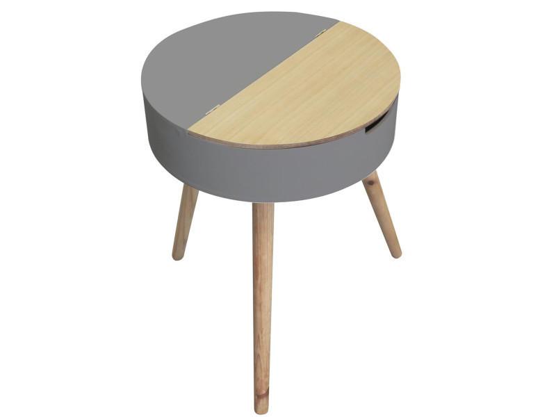 Table coffre en bois et mdf coloris gris/beige - dim : h57.5 x l45 cm -pegane-