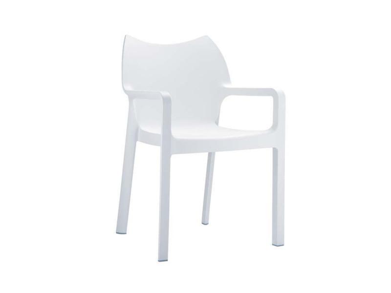 Chaise de jardin empilable en plastique blanc, dim : h84 x p53 x l57 cm -pegane-