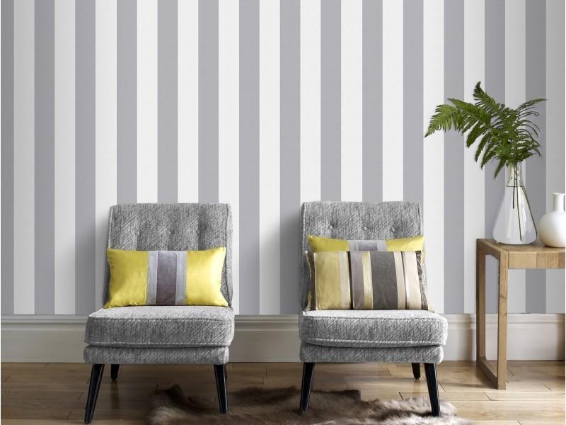 Papier peint intissé lynn rayures 1005 x 52cm gris, blanc 103450