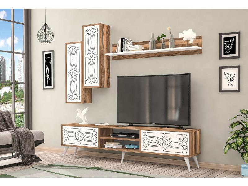 Meuble tv design lucas motif bois noyer marron clair et blanc