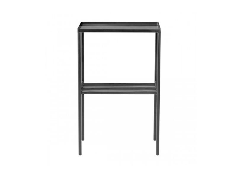 Table d'appoint rectangulaire en métal noir mat