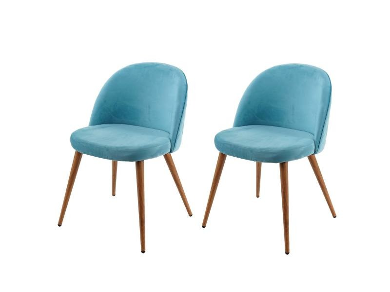 2x chaise de salle à manger hwc-d53, fauteuil, style rétro années 50, en velours ~ bleu turquoise