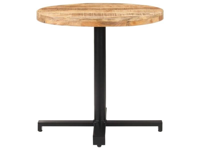 Vidaxl table de bistro ronde ø80x75 cm bois de manguier brut 320269