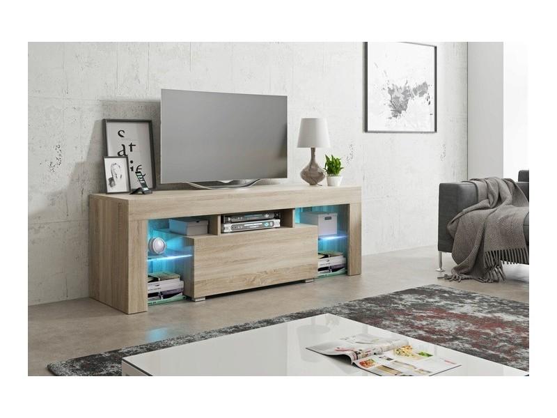 Meuble tv 130 cm sonoma led rgb