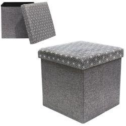 Coffre pouf de rangement pliable arty tissu gris