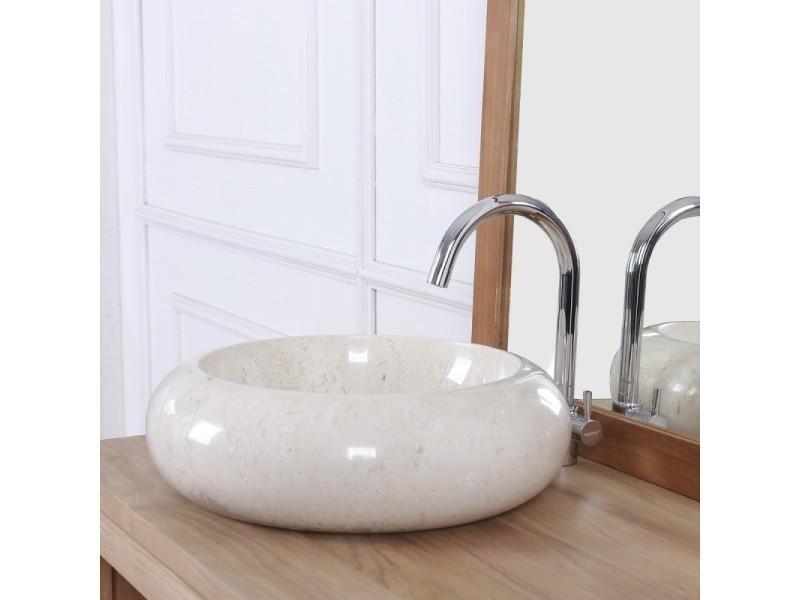 Vasque donuts en pierre de marbre blanc - Vente de Vasque et lavabo -  Conforama 28b0bb13f177