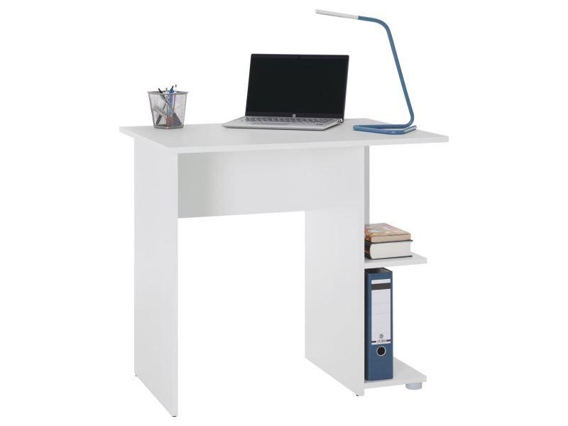 Bureau pour enfant ou adulte nova, bureau informatique table d'ordinateur rangement ouvert 2 tablettes, en mélaminé blanc mat