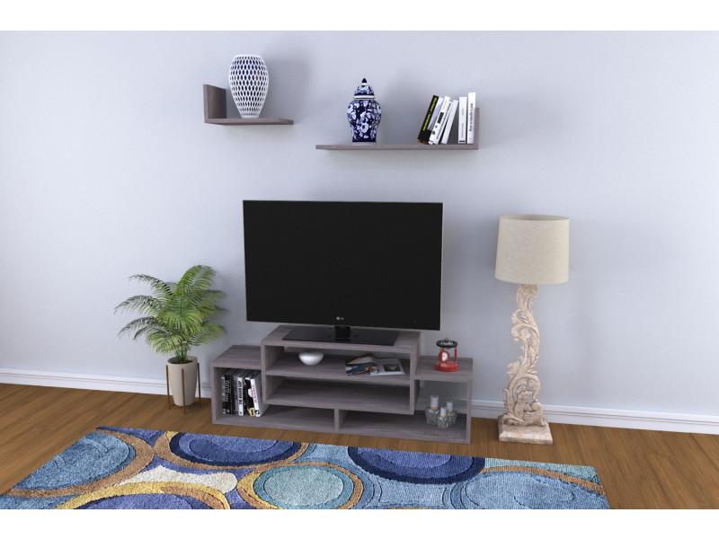 Meuble Tv Design Delo Motif Bois Chene Gris Conforama