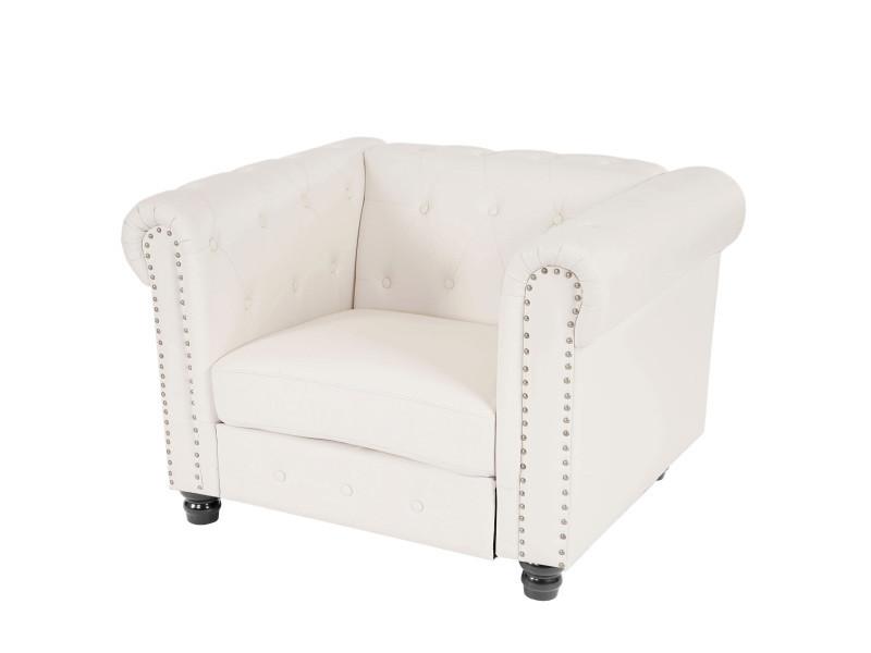 Fauteuil de luxe chesterfield, fauteuil longue, similicuir ~ pieds ronds, blanc