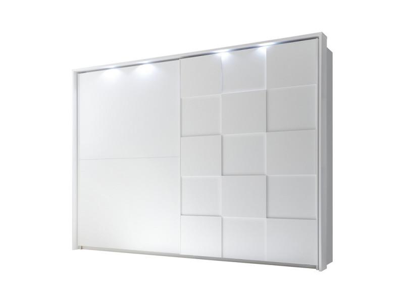 Armoire 2 portes coulissantes 275 cm blanc mat à leds - ticato - l 285 x l 64 x h 210 - neuf