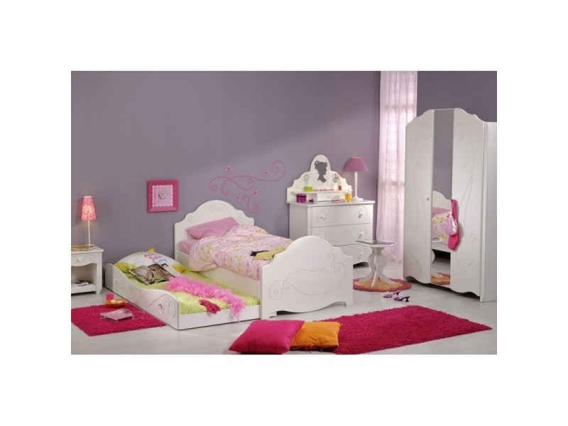 chambre enfant compl te 90 190 blanc andrea l 195 x. Black Bedroom Furniture Sets. Home Design Ideas
