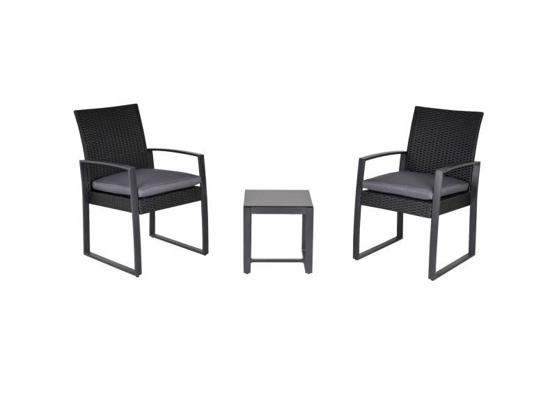 Salon de jardin 2 places - 3 pièces 2 chaises avec coussins gris + table basse - plateau verre trempé - résine tressée 4 fils imitation rotin noir