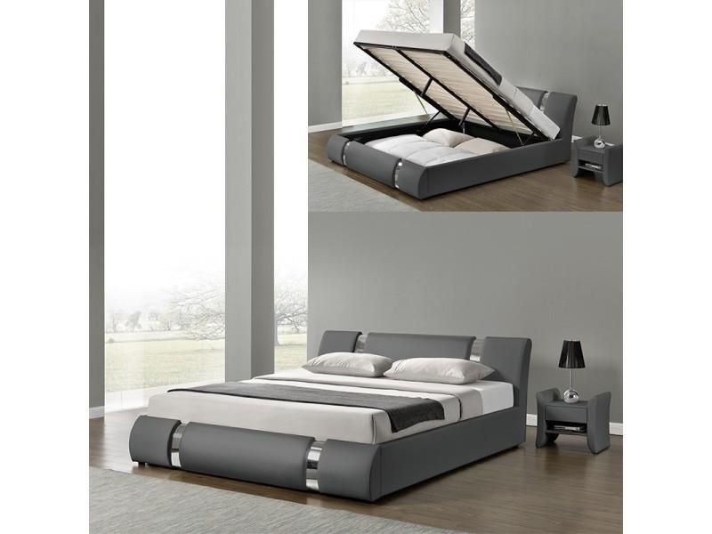 Lit coffre sommier relevable nova - gris - 160x200